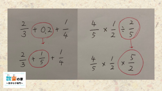 算数・数学の計算問題を早く解くコツ(方法)は割り算と掛け算、分数と少数をそれぞれ同じにそろえて計算します。中学校で習う素因数分解や連立方程式、平方根も公式や代入法などを使うと簡単に解けます。