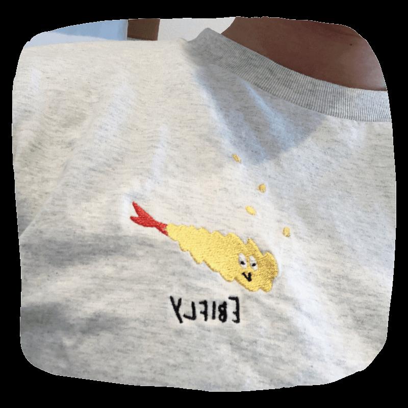 Design Tshirts Store graniph (グラニフ)のキャラクターtシャツで授業!値段も安くて、 子供(キッズ)にも人気、絵本とのコラボしてるから知ってる人が多い。エビフライ可愛い!