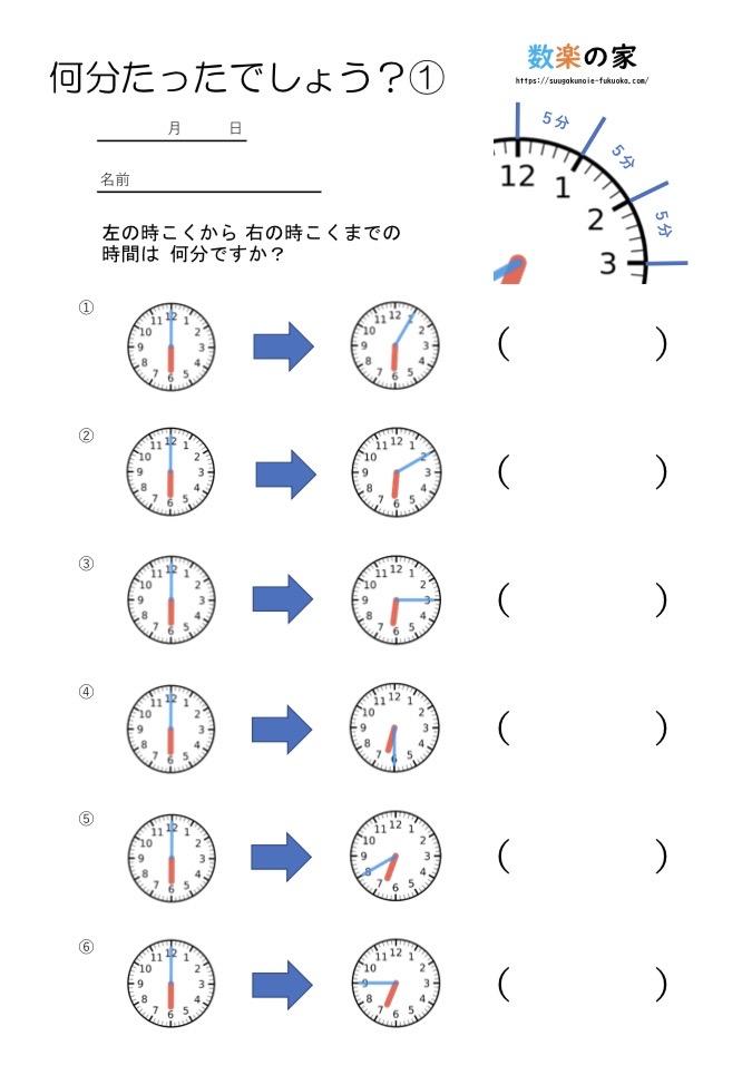 算数の時計の練習プリントです。無料ダウンロードができる教材です。2年生3年生向けで文字盤の読み方、長針と短針の見方、子供への教え方が簡単に分かります。時計の問題が苦手、わからないという小学生におすすめです。 5分、10分、15分用の練習プリントです。