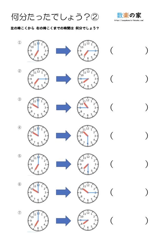 算数の時計の練習プリントです。無料ダウンロードができる教材です。2年生3年生向けで文字盤の読み方、長針と短針の見方、子供への教え方が簡単に分かります。時計の問題が苦手、わからないという小学生におすすめです。 15分、30分、45分用の練習プリントです。